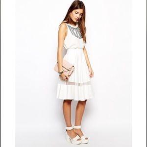 Lavish Alice Scuba Midi Skirt Sheer Insert
